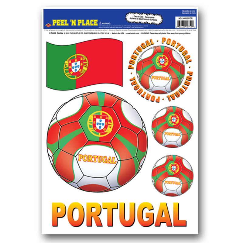 Peel 'N Place - Portugal (6/Sheet) by Beistle - Soccer Theme Decorations