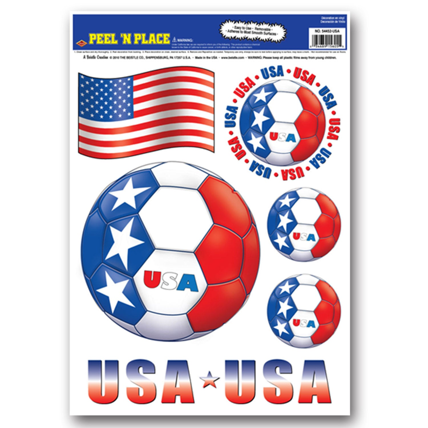 Peel 'N Place - United States (6/Sheet) by Beistle - Soccer Theme Decorations
