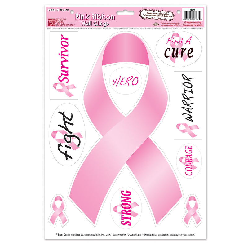 Pink Ribbon/Find A Cure Peel 'N Place (10/Sheet) by Beistle - Pink Ribbon Theme Decorations