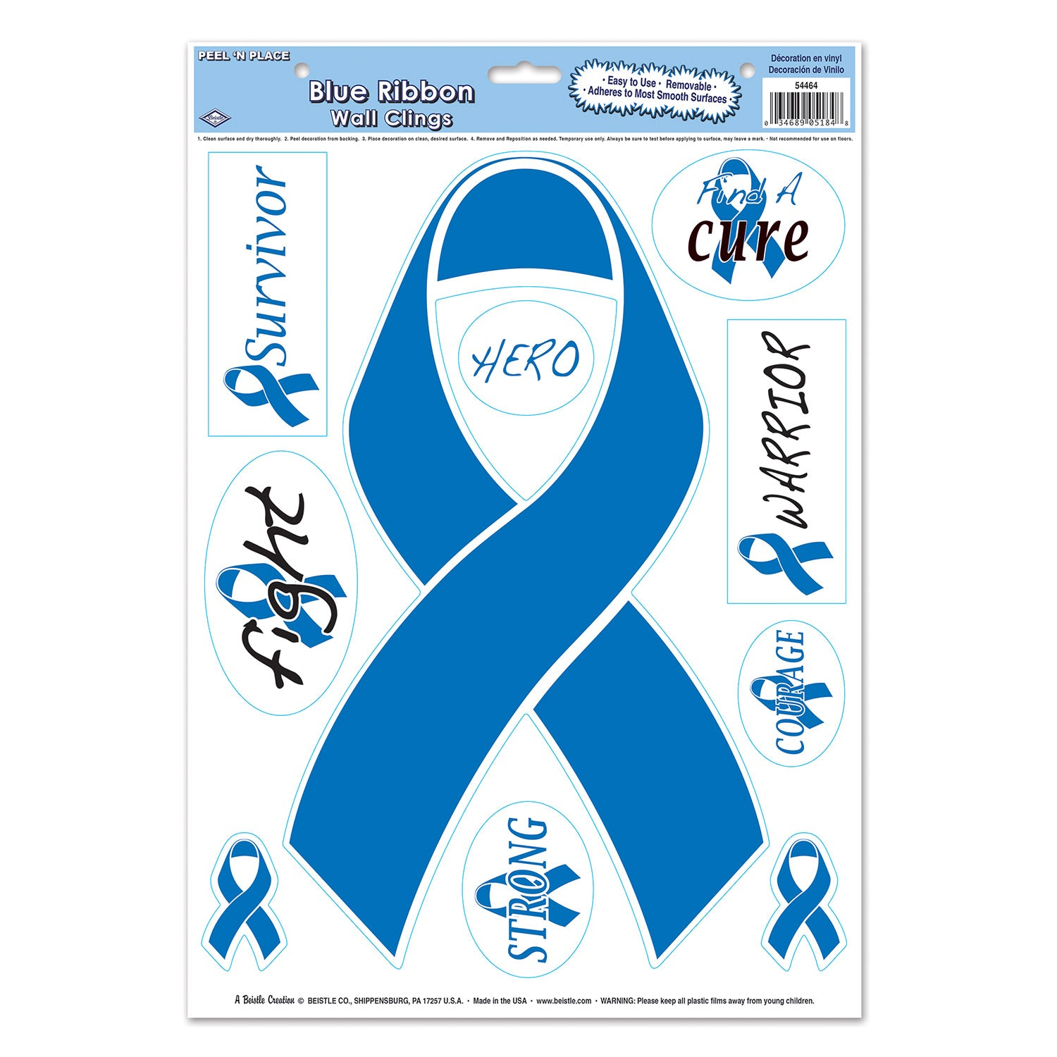Blue Ribbon/Find A Cure Peel 'N Place (10/Sheet) by Beistle - Blue Ribbon Theme Decorations