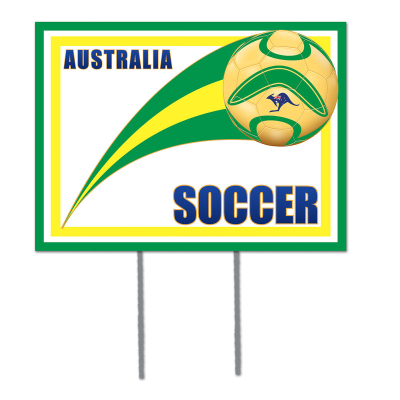Plastic Yard Sign - Australia by Beistle - Soccer Theme Decorations