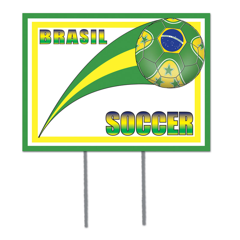 Plastic Yard Sign - Brasil by Beistle - Soccer Theme Decorations