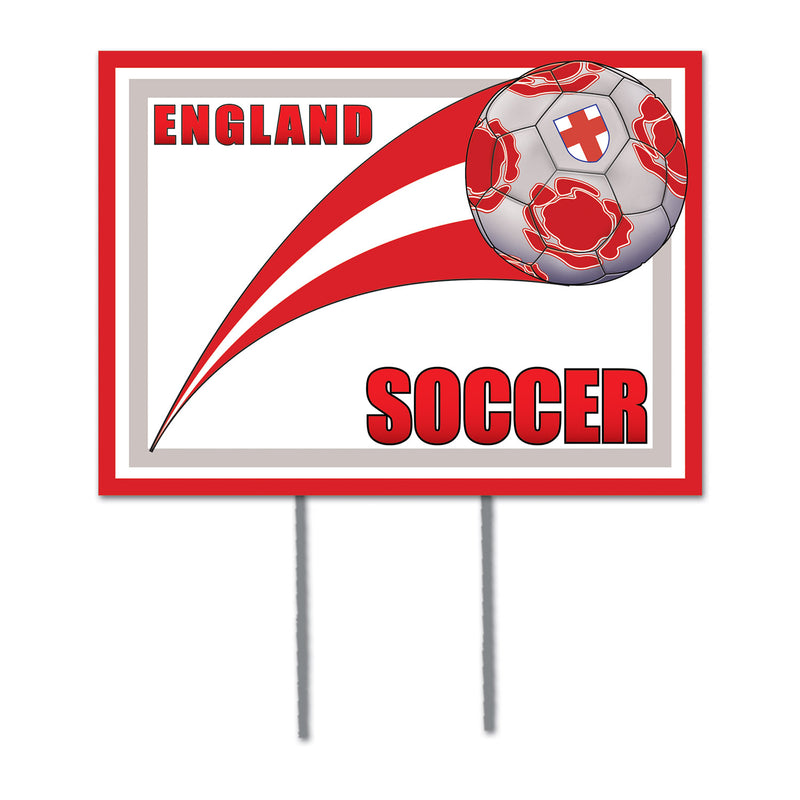 Plastic Yard Sign - England by Beistle - Soccer Theme Decorations