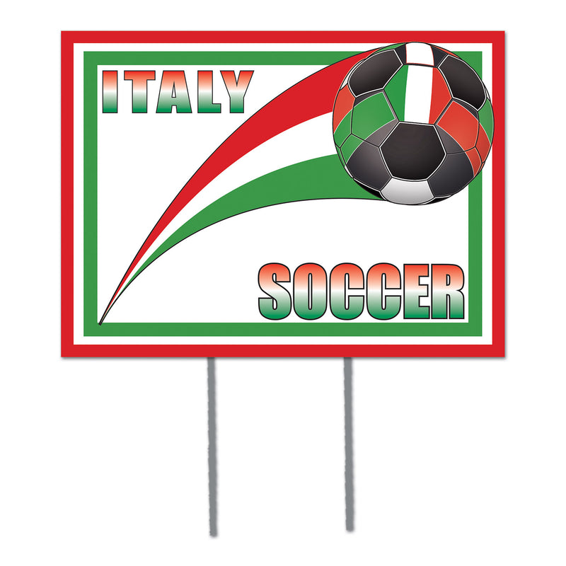 Plastic Yard Sign - Italy by Beistle - Soccer Theme Decorations