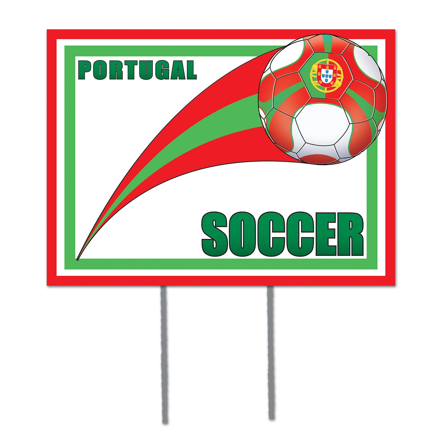 Plastic Yard Sign - Portugal by Beistle - Soccer Theme Decorations