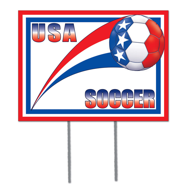 Plastic Yard Sign - United States by Beistle - Soccer Theme Decorations