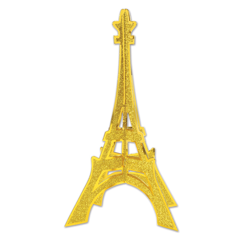 3-D Glittered Eiffel Tower Centerpiece by Beistle - French Theme Decorations