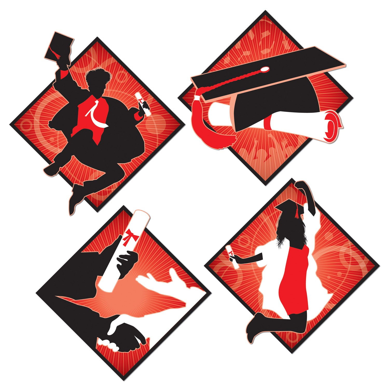 Graduation Cutouts (4/Pkg) by Beistle - Graduation Theme Decorations