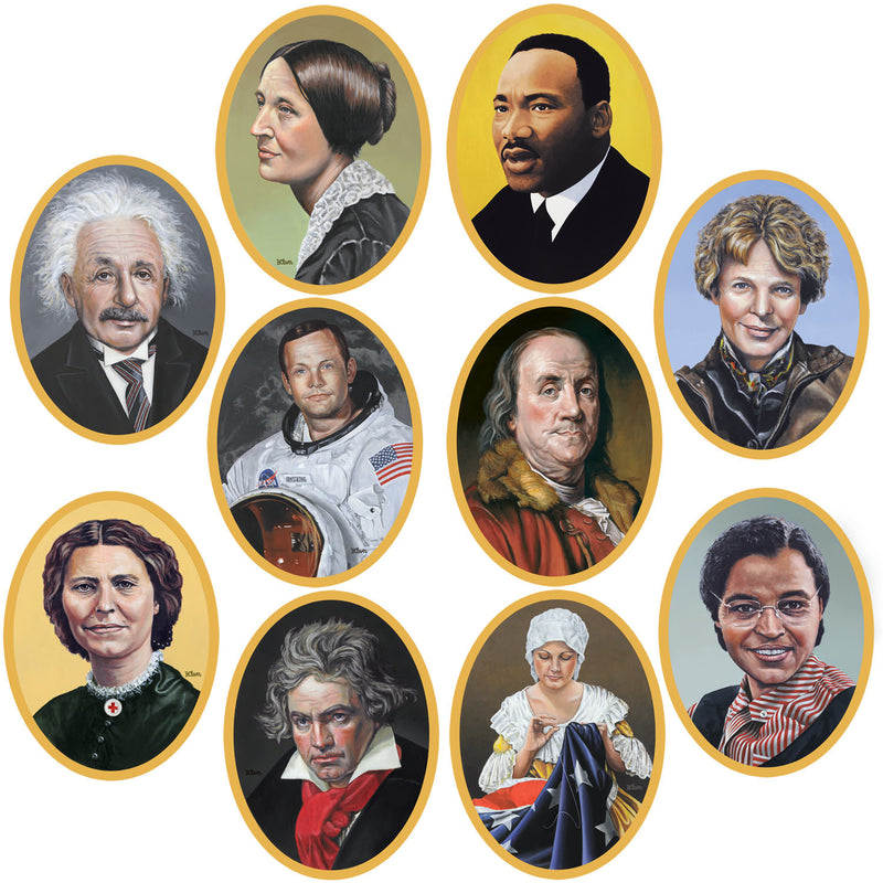 Faces In History Cutouts (10/Pkg) by Beistle - School Awards and Supplies Decorations