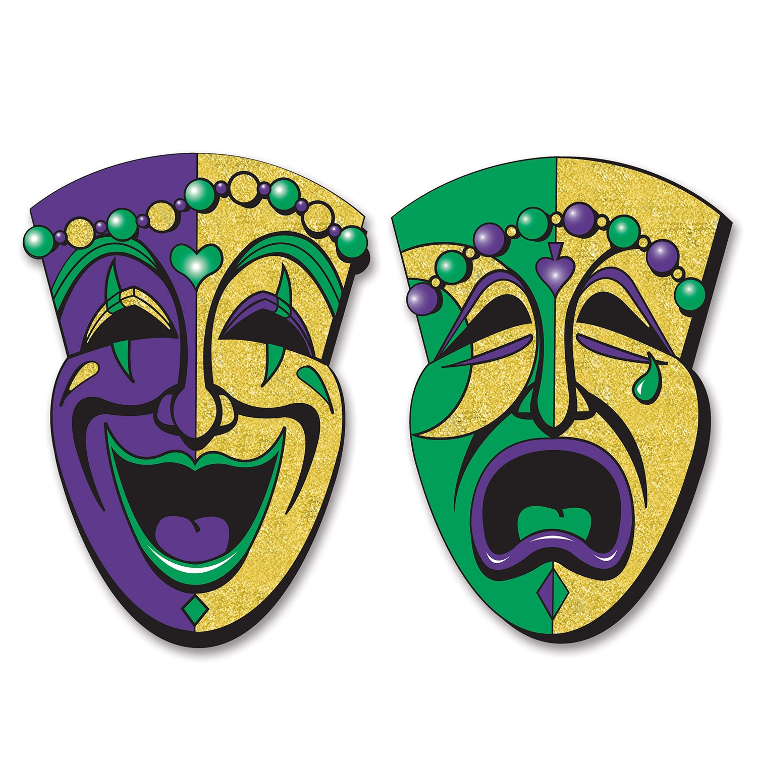 Jumbo Gltrd Comedy&Tragedy Face Cutouts (2/Pkg) by Beistle - Mardi Gras Theme Decorations