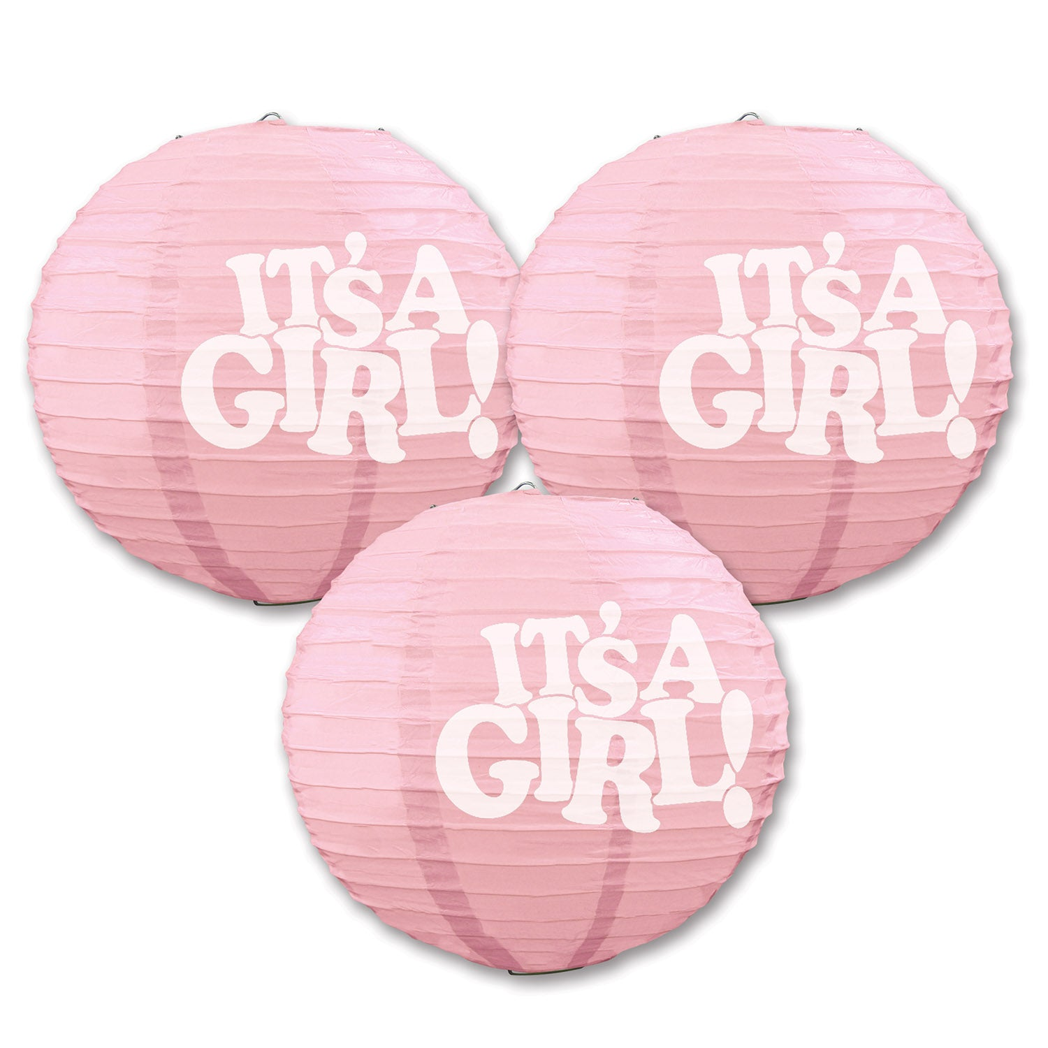 It's A Girl! Paper Lanterns (3/Pkg) by Beistle - Baby Shower Theme Decorations