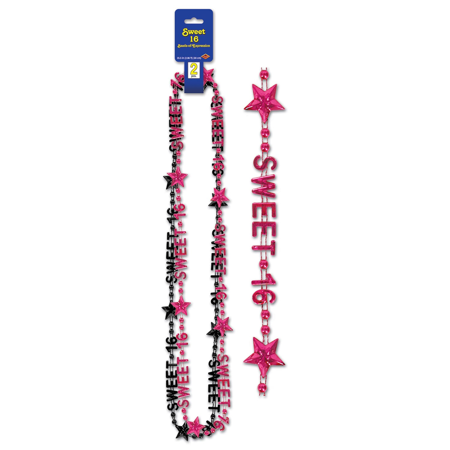 Sweet 16 Beads-Of-Expression (2/Card) by Beistle - Sweet 16 Birthday Decorations