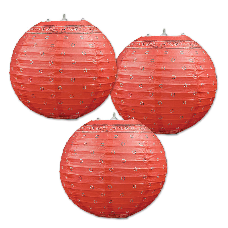 Bandana Paper Lanterns (3/Pkg) by Beistle - Western Theme Decorations