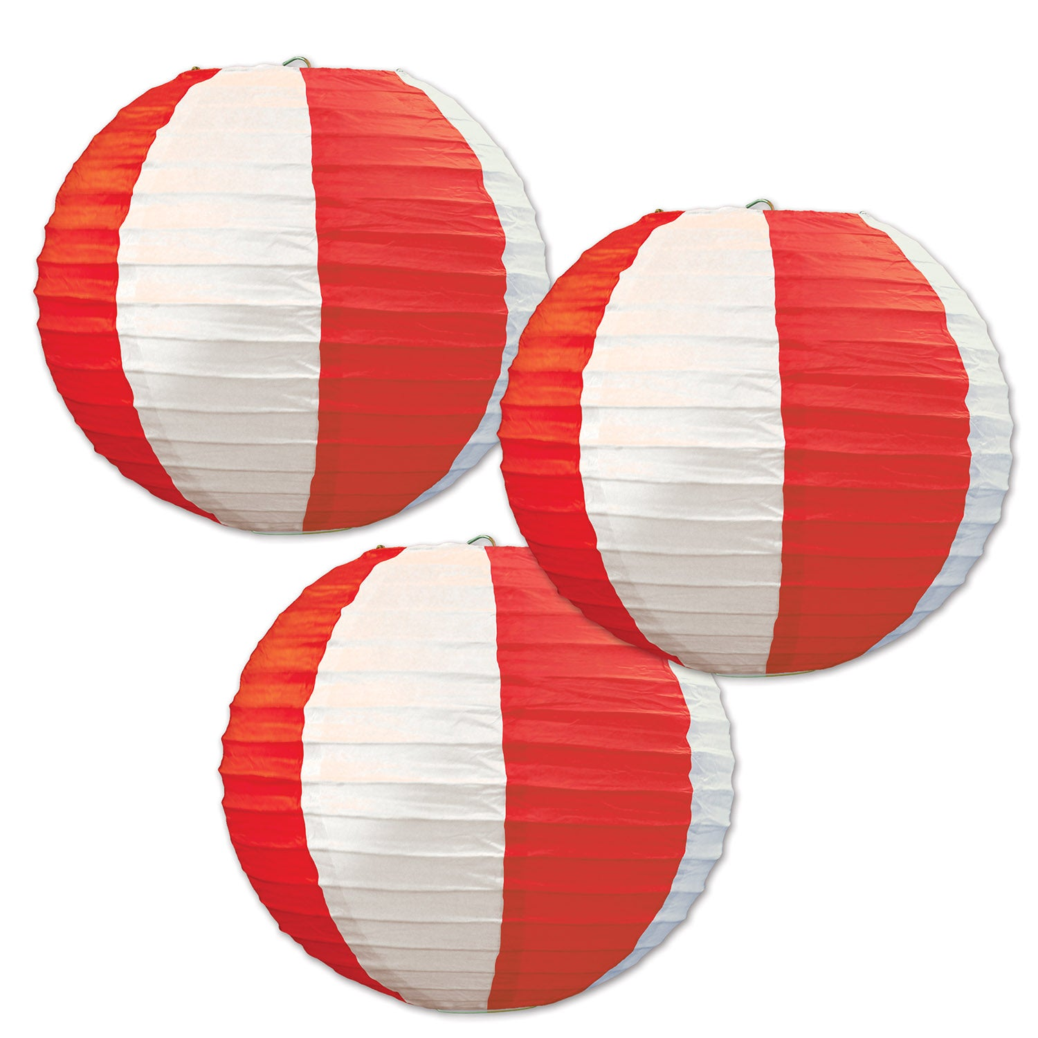 Red & White Stripes Paper Lanterns (3/Pkg) by Beistle - Circus Theme Decorations
