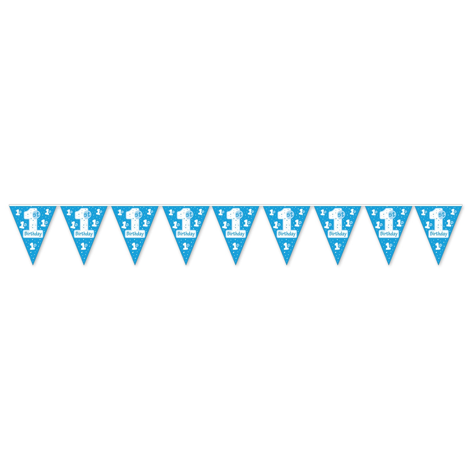 1st Birthday Pennant Banner, lt blue by Beistle - 1st Birthday Party Decorations