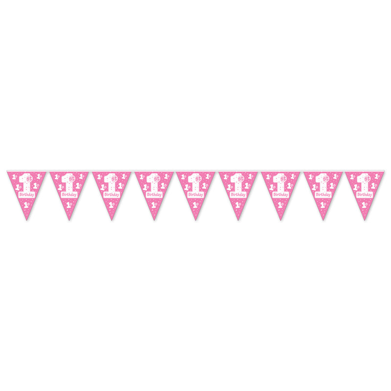 1st Birthday Pennant Banner, pink by Beistle - 1st Birthday Party Decorations