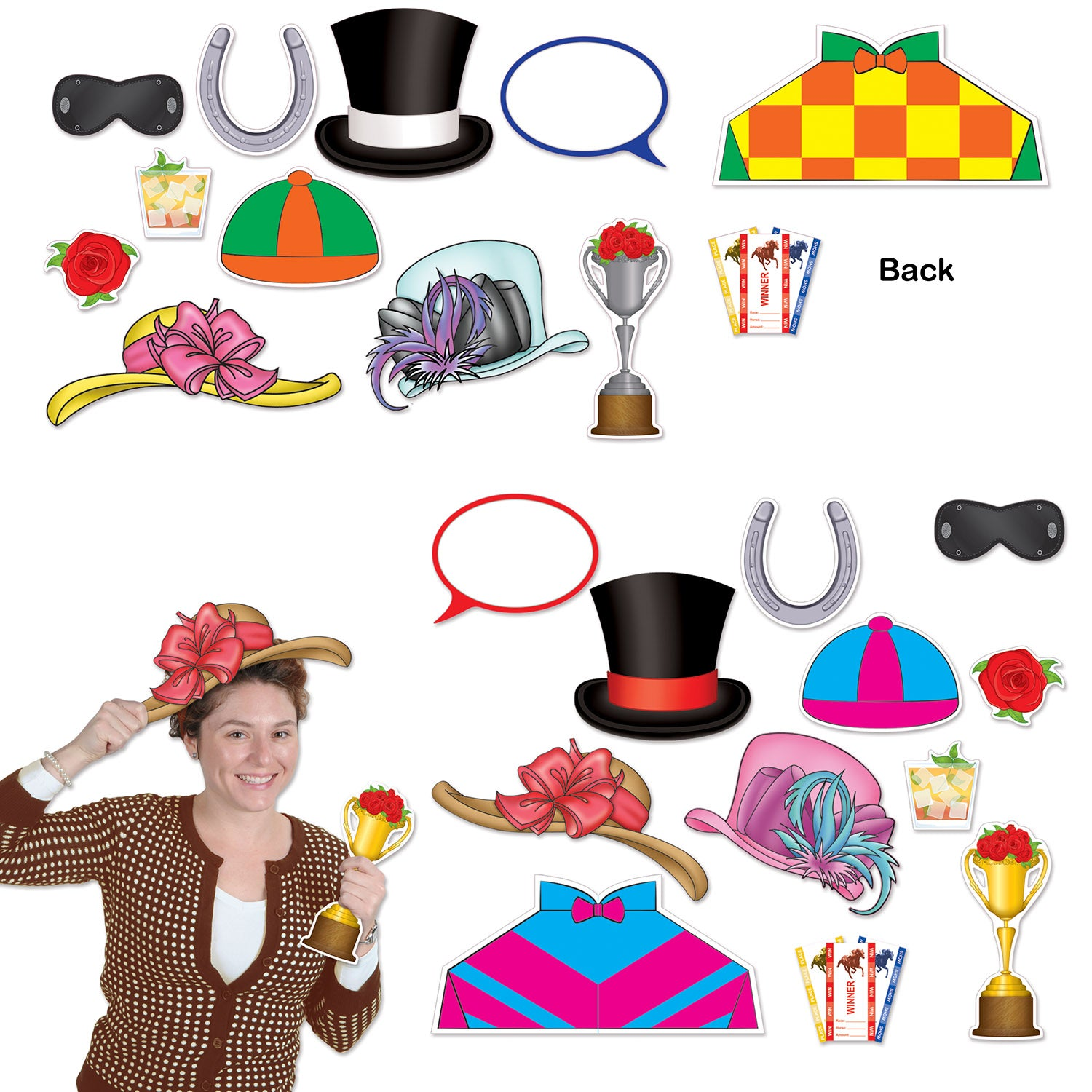 Horse Racing Photo Fun Signs (12/Pkg) by Beistle - Derby Day Theme Decorations