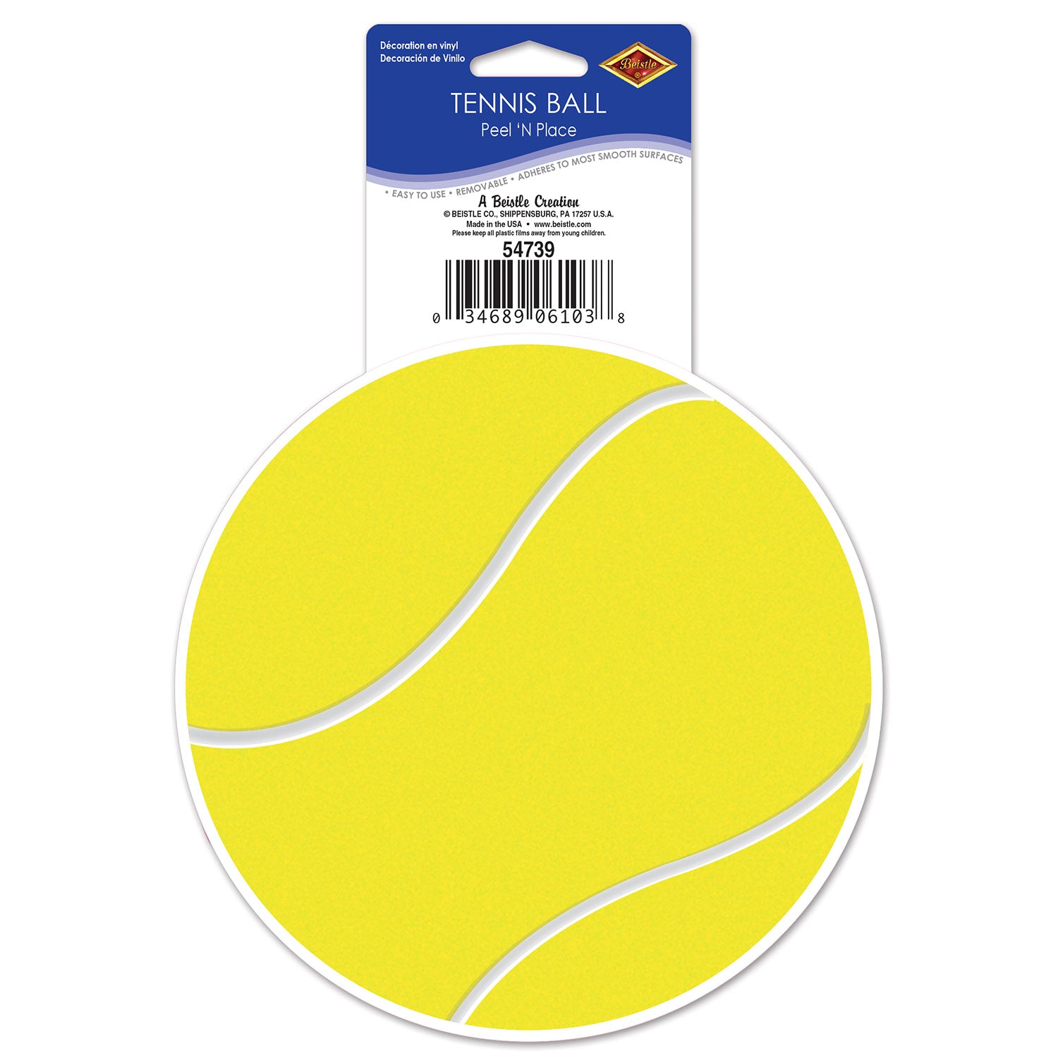 Tennis Ball Peel 'N Place (1 Sheet) by Beistle - Tennis Theme Decorations