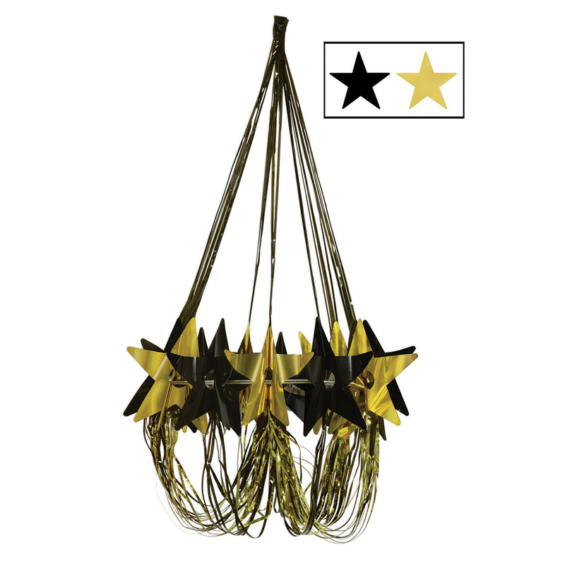 Star Chandelier, black & gold by Beistle - Awards Night Theme Decorations
