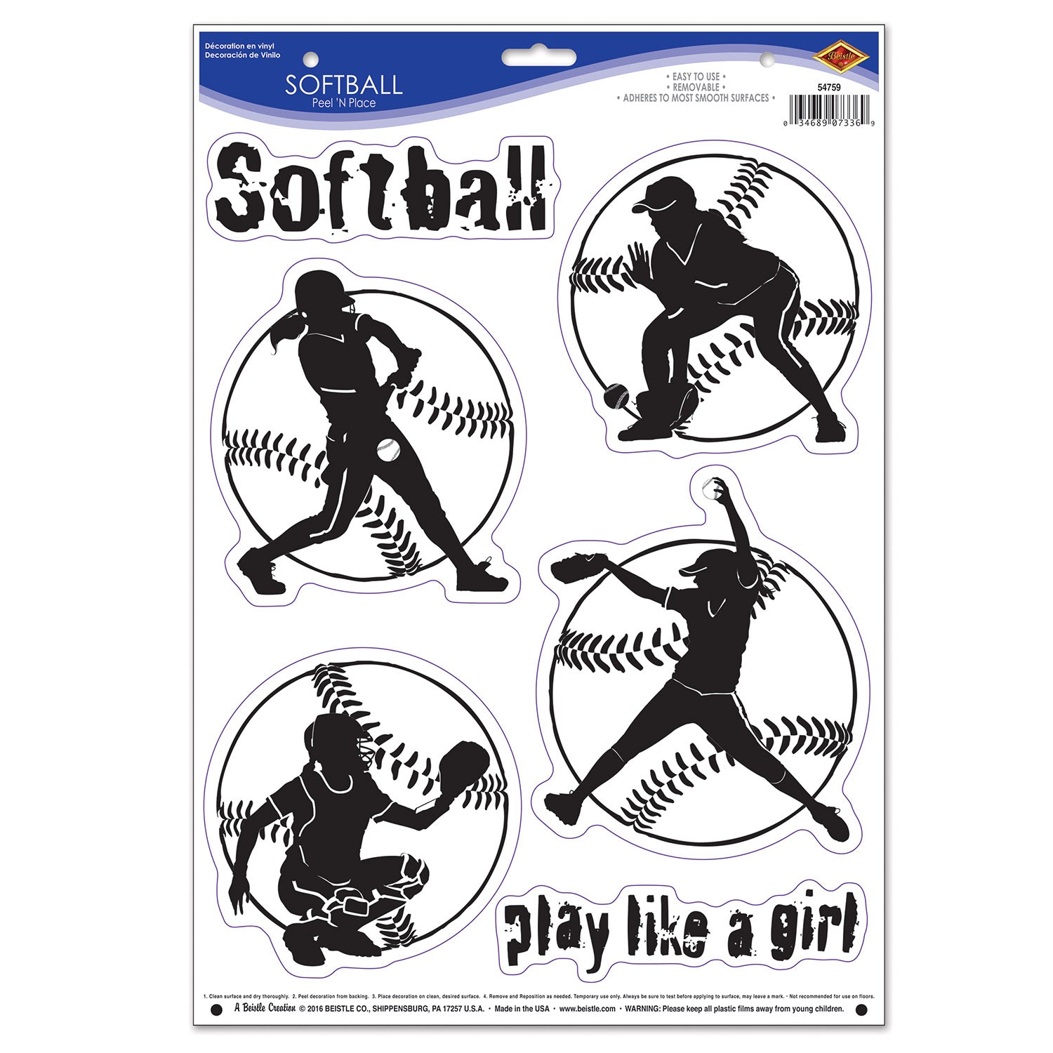 Softball Peel 'N Place (6/Sheet) by Beistle - Softball Theme Decorations