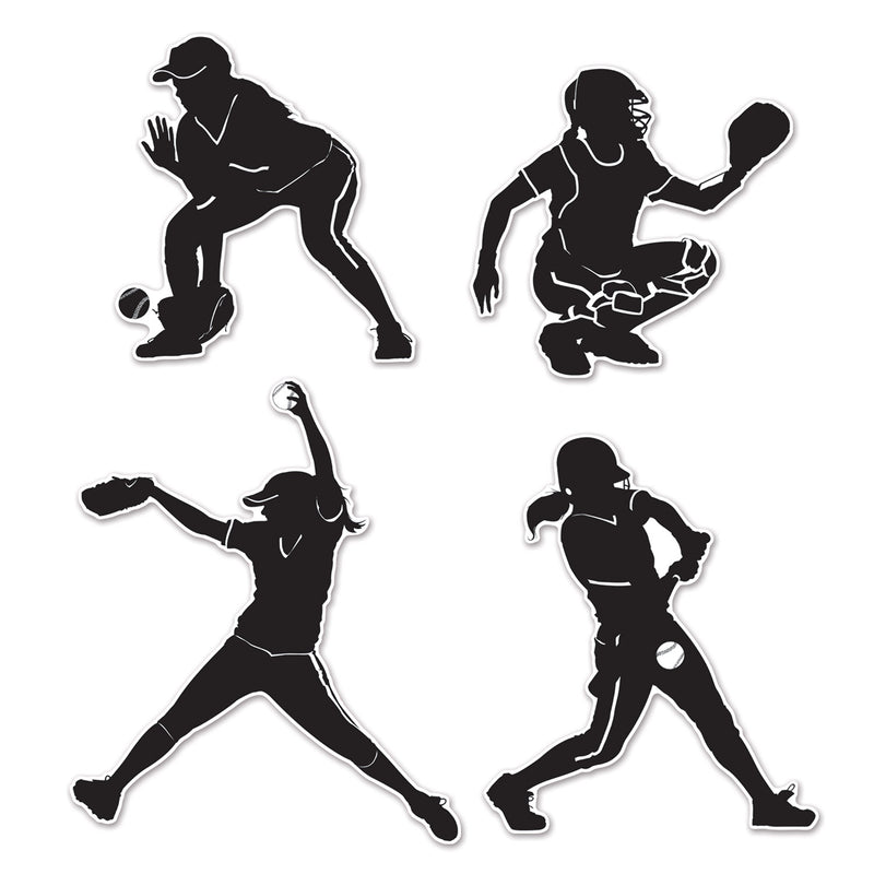 Softball Silhouettes (4/Pkg) by Beistle - Softball Theme Decorations