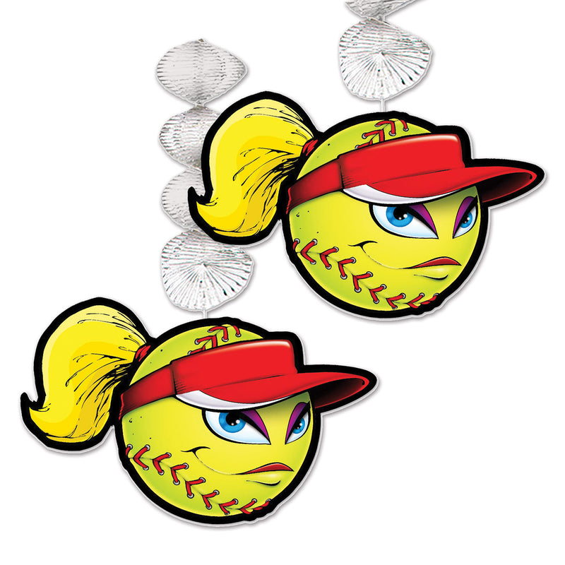 Softball Danglers (2/Pkg) by Beistle - Softball Theme Decorations