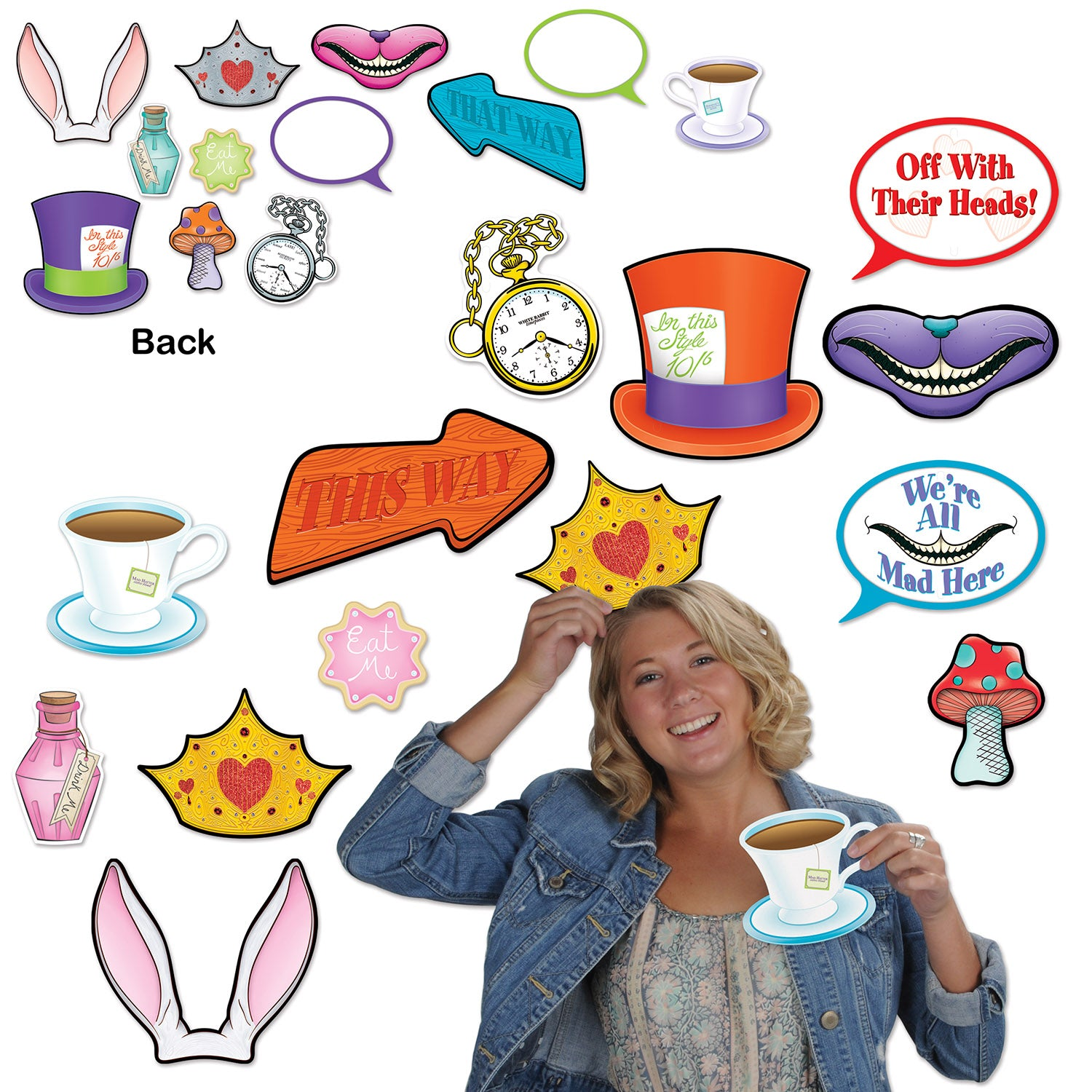 Alice In Wonderland Photo Fun Signs (12/Pkg) by Beistle - Alice In Wonderland Theme Decorations