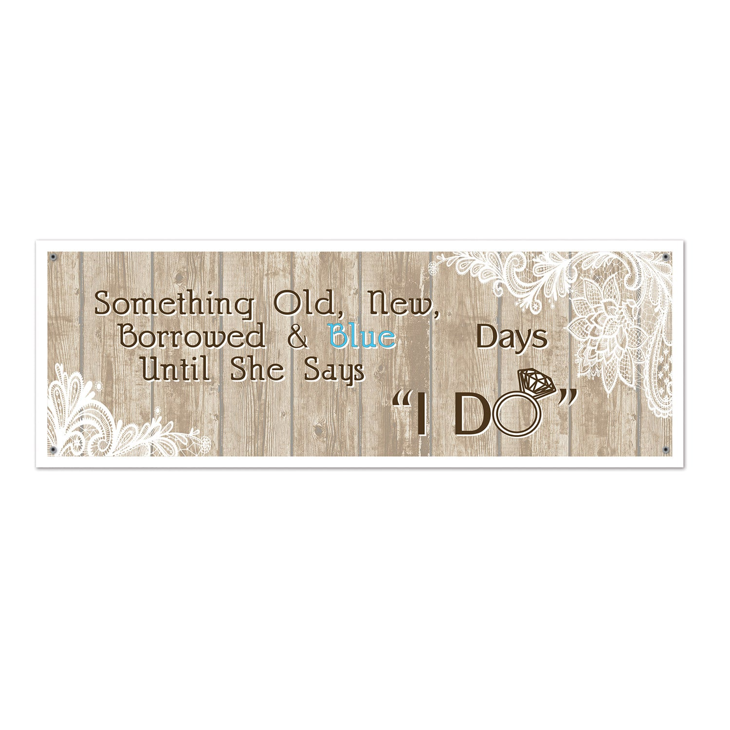 Rustic Wedding Sign Banner by Beistle - Wedding Theme Decorations