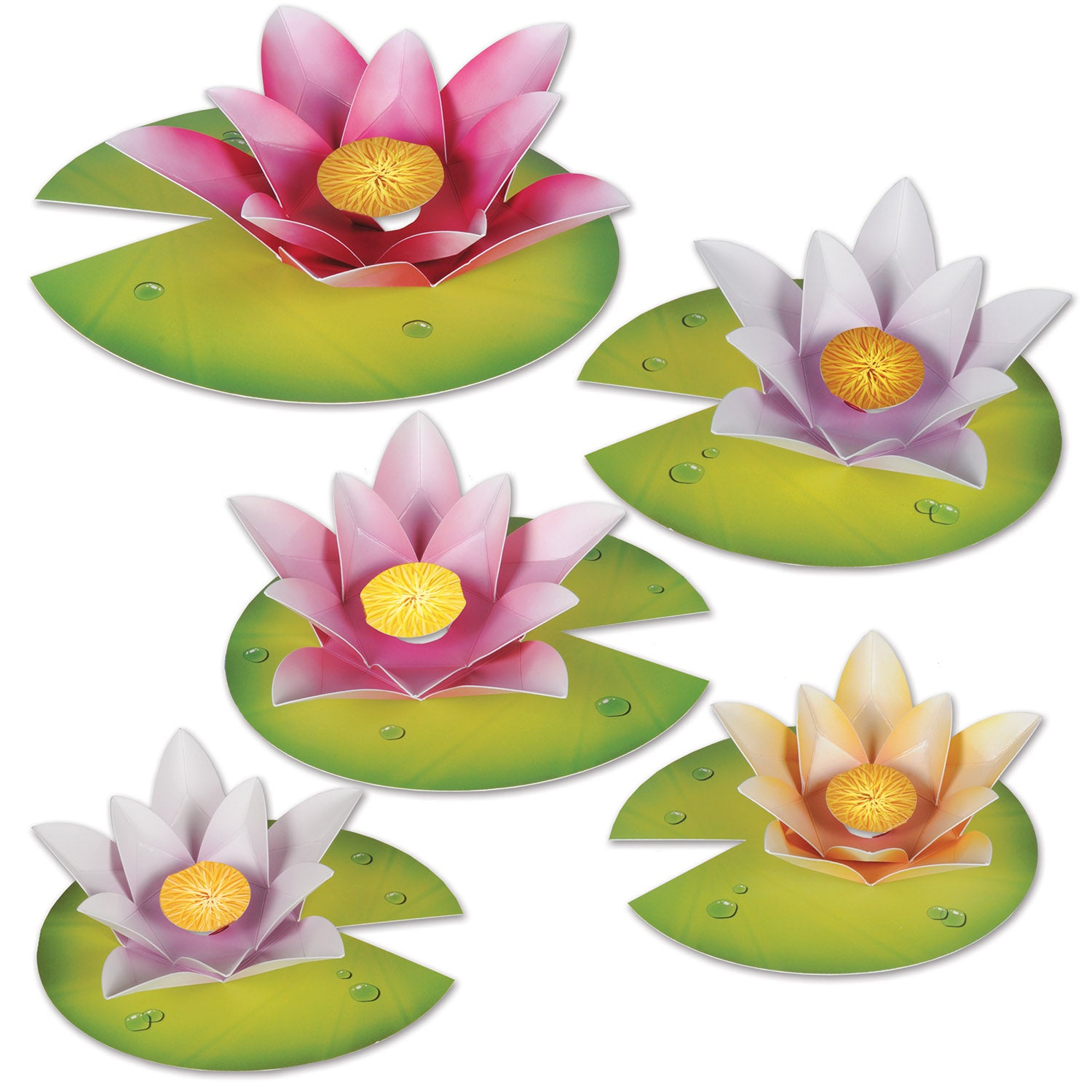 Water Lily Paper Flowers (5/Pkg) by Beistle - Spring/Summer Theme Decorations