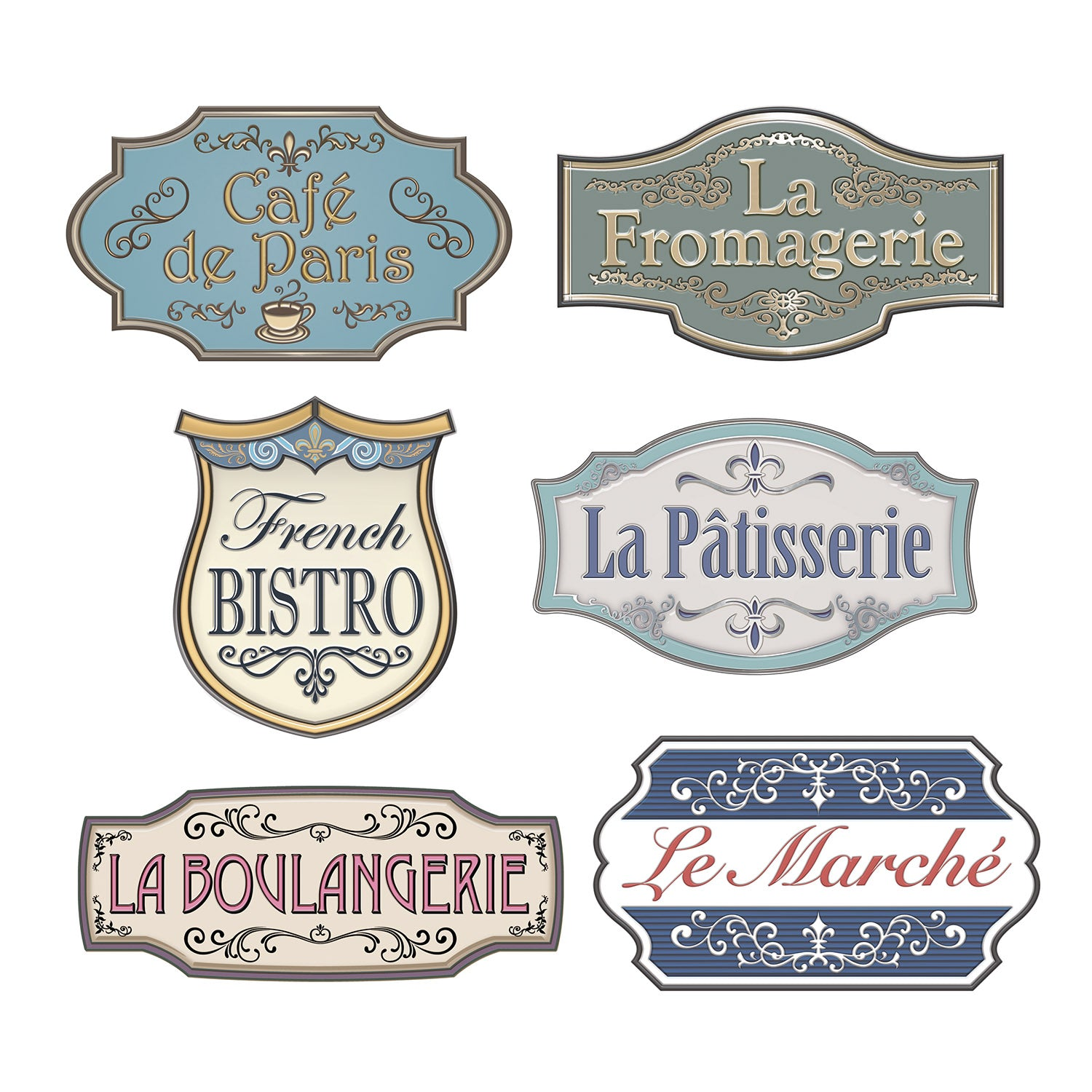 French Shop Sign Cutouts (6/Pkg) by Beistle - French Theme Decorations