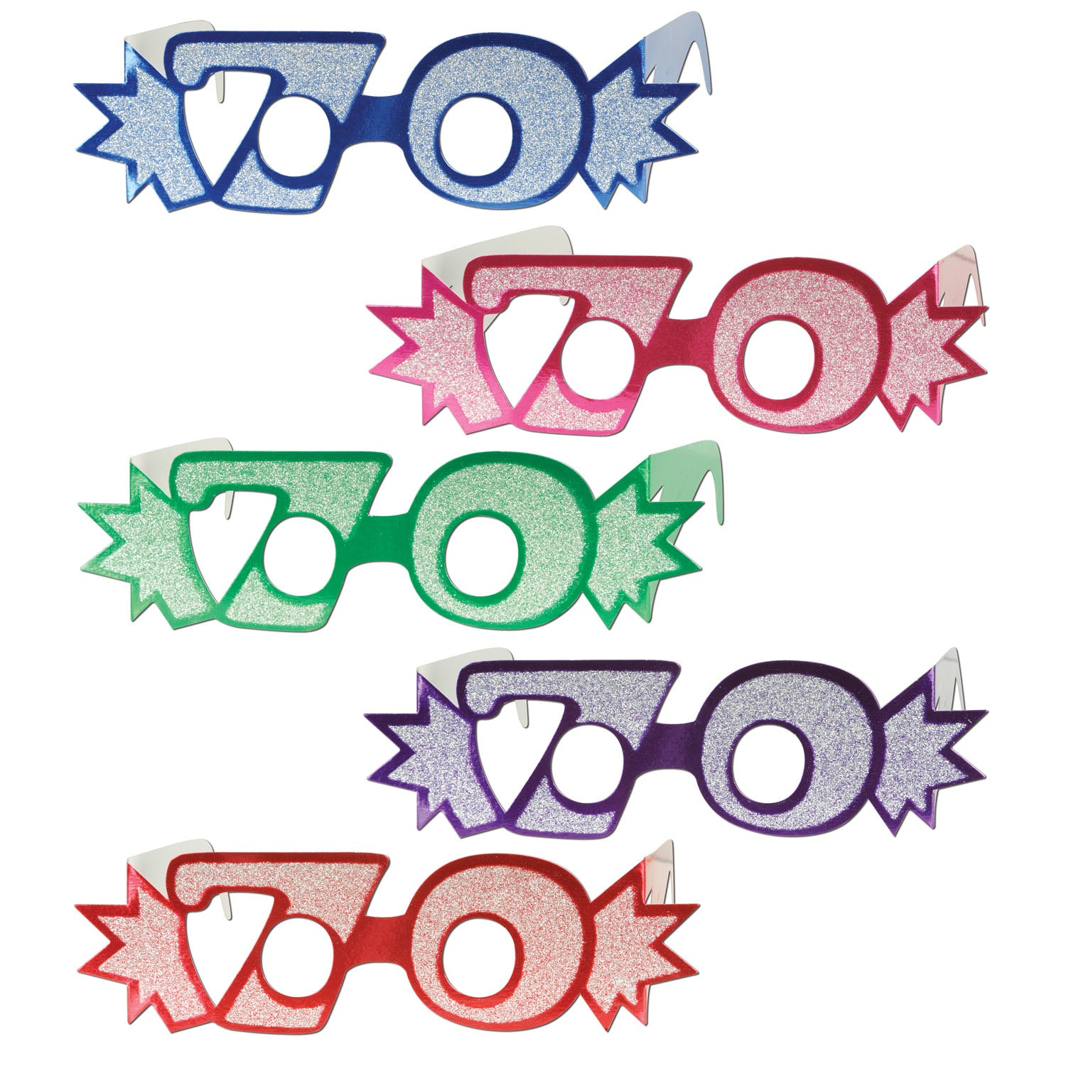70 Glittered Foil Eyeglasses by Beistle - 70th Birthday Party Decorations