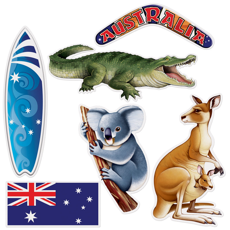 Australian Cutouts (6/Pkg) by Beistle - Australian Theme Decorations