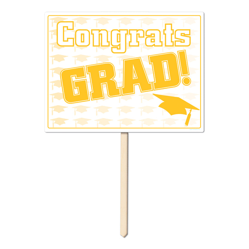 Plastic Congrats Grad Yard Sign by Beistle - Graduation Theme Decorations