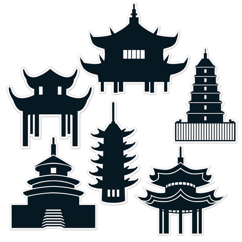 Pagoda Silhouettes (6/Pkg) by Beistle - Asian Theme Decorations