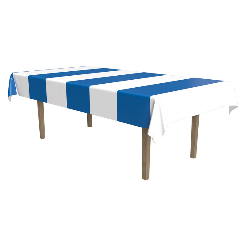 Blue & White Stripes Tablecover by Beistle - Oktoberfest Theme Decorations
