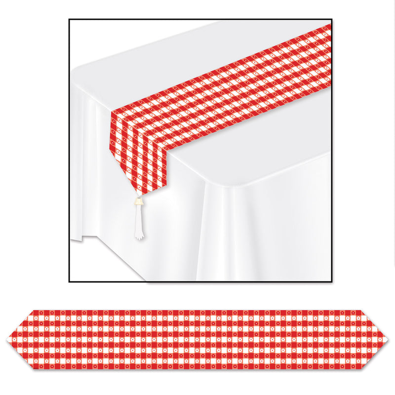 Printed Gingham Table Runner by Beistle - Spring/Summer Theme Decorations