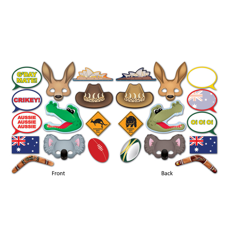Australian Photo Fun Signs (12/Pkg) by Beistle - Australian Theme Decorations