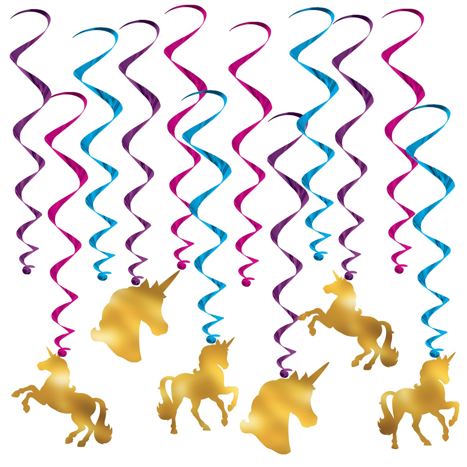 Unicorn Whirls (12/Pkg) by Beistle - Unicorn Theme Decorations