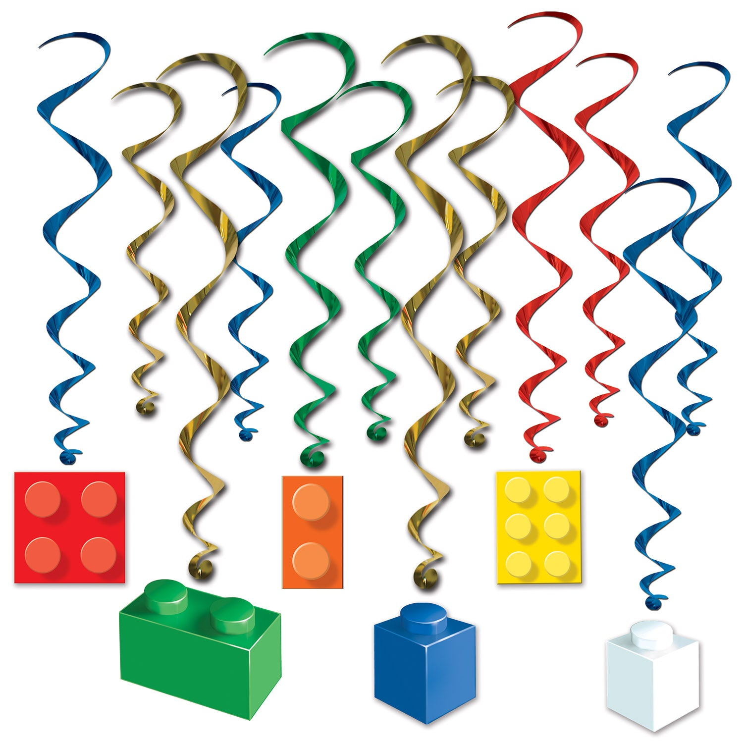 Building Block Whirls (12/Pkg) by Beistle - Building Blocks Theme Decorations