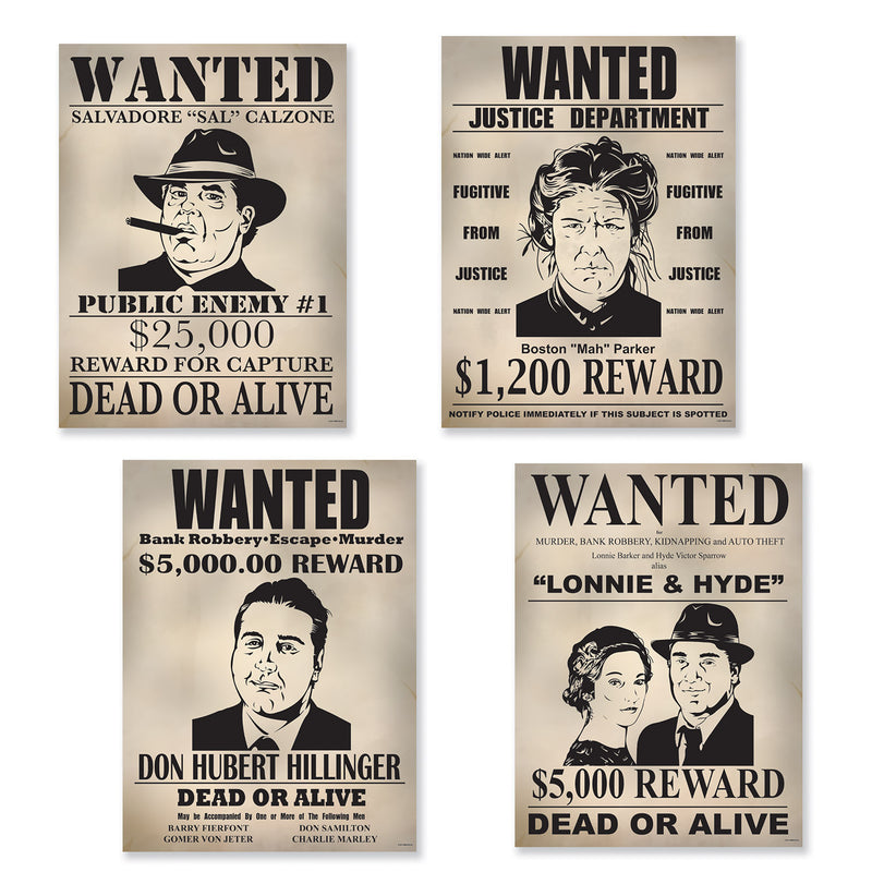 Gangster Wanted Sign Cutouts (4/Pkg) by Beistle - 20's Theme Decorations