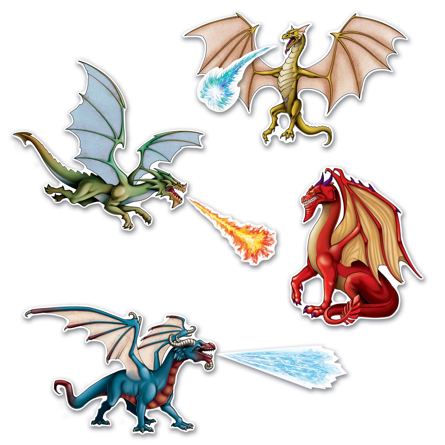 Dragon Cutouts (7/Pkg) by Beistle - Fantasy Theme Decorations