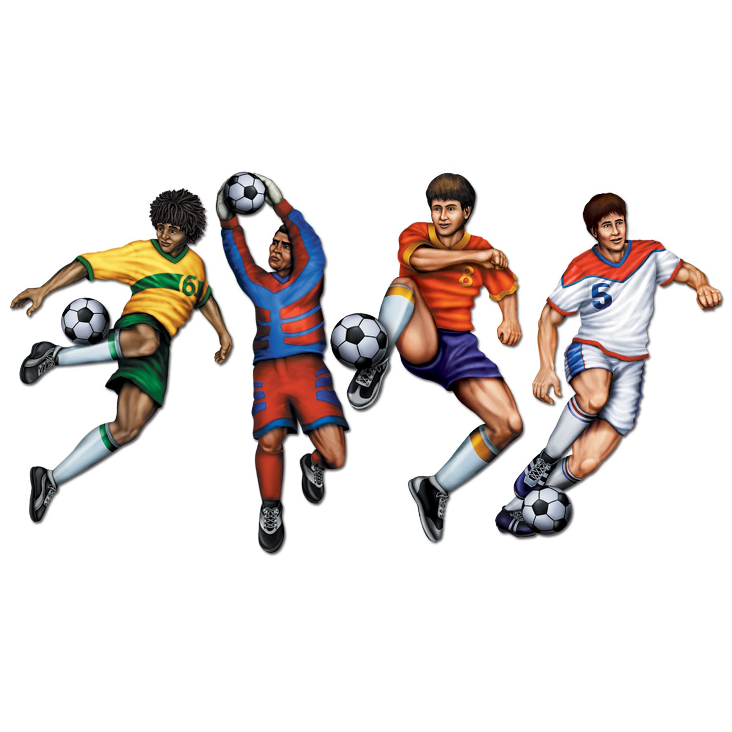 Soccer Cutouts (4/Pkg) by Beistle - Soccer Theme Decorations