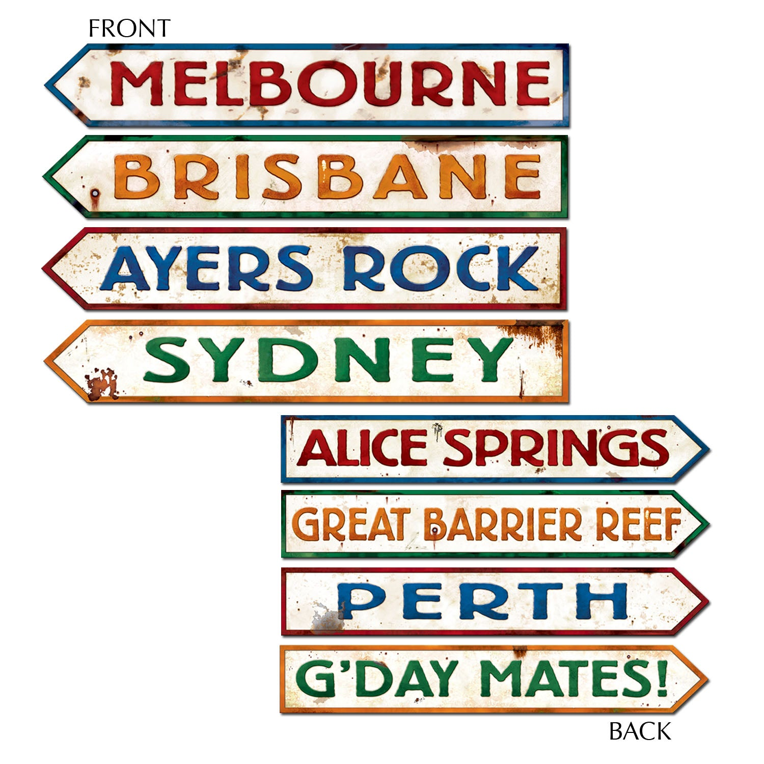 Australian Street Sign Cutouts (4/Pkg) by Beistle - Australian Theme Decorations