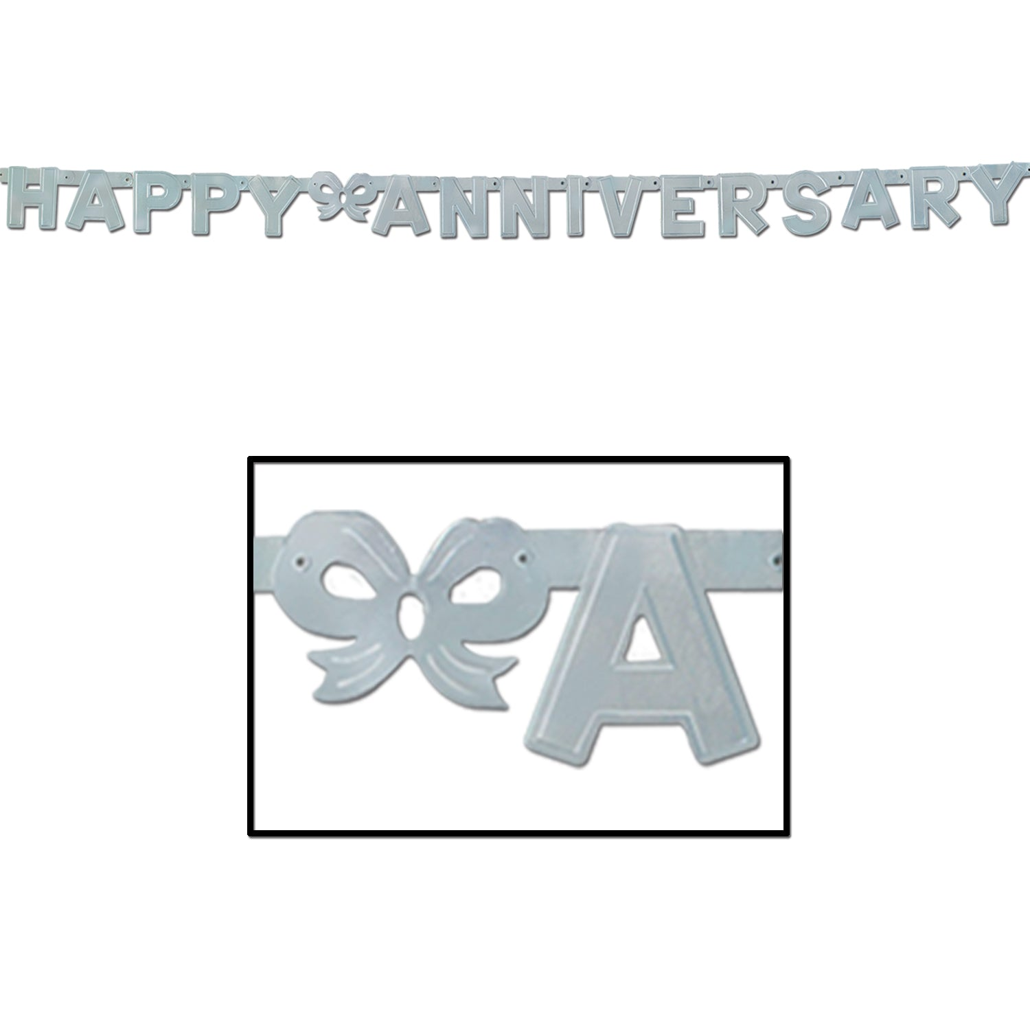 Foil Happy Anniversary Streamer, silver by Beistle - Anniversary Theme Decorations