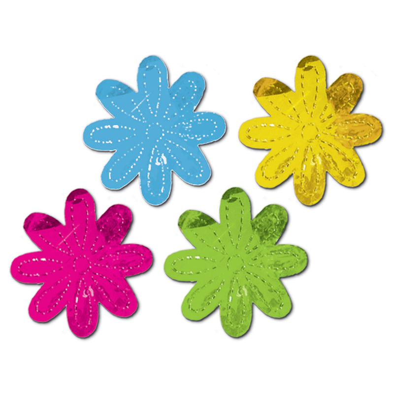 Metallic Flower Silhouettes (4/Pkg) by Beistle - Spring/Summer Theme Decorations
