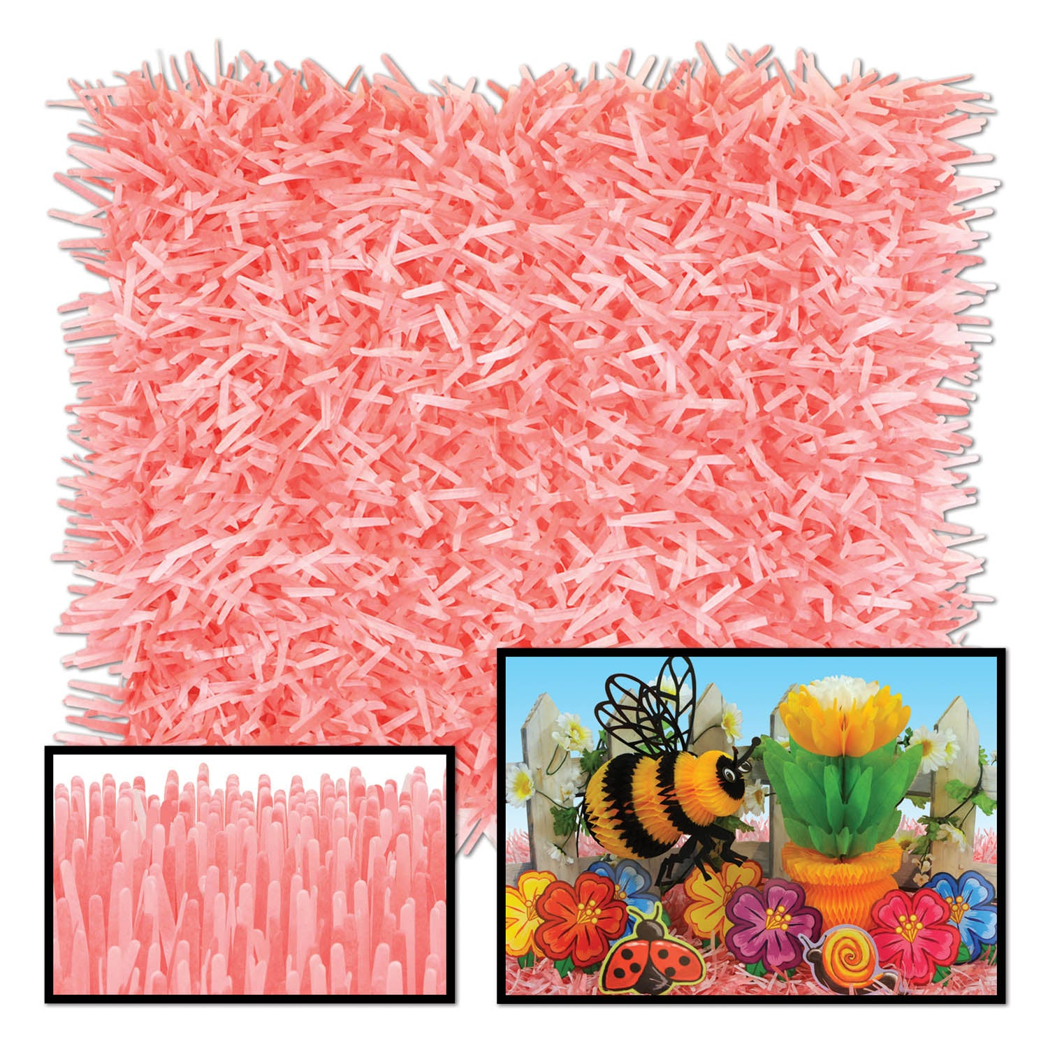 Packaged Fringed Tissue Mats (2/Pkg), dusty rose & pink by Beistle - Spring/Summer Theme Decorations