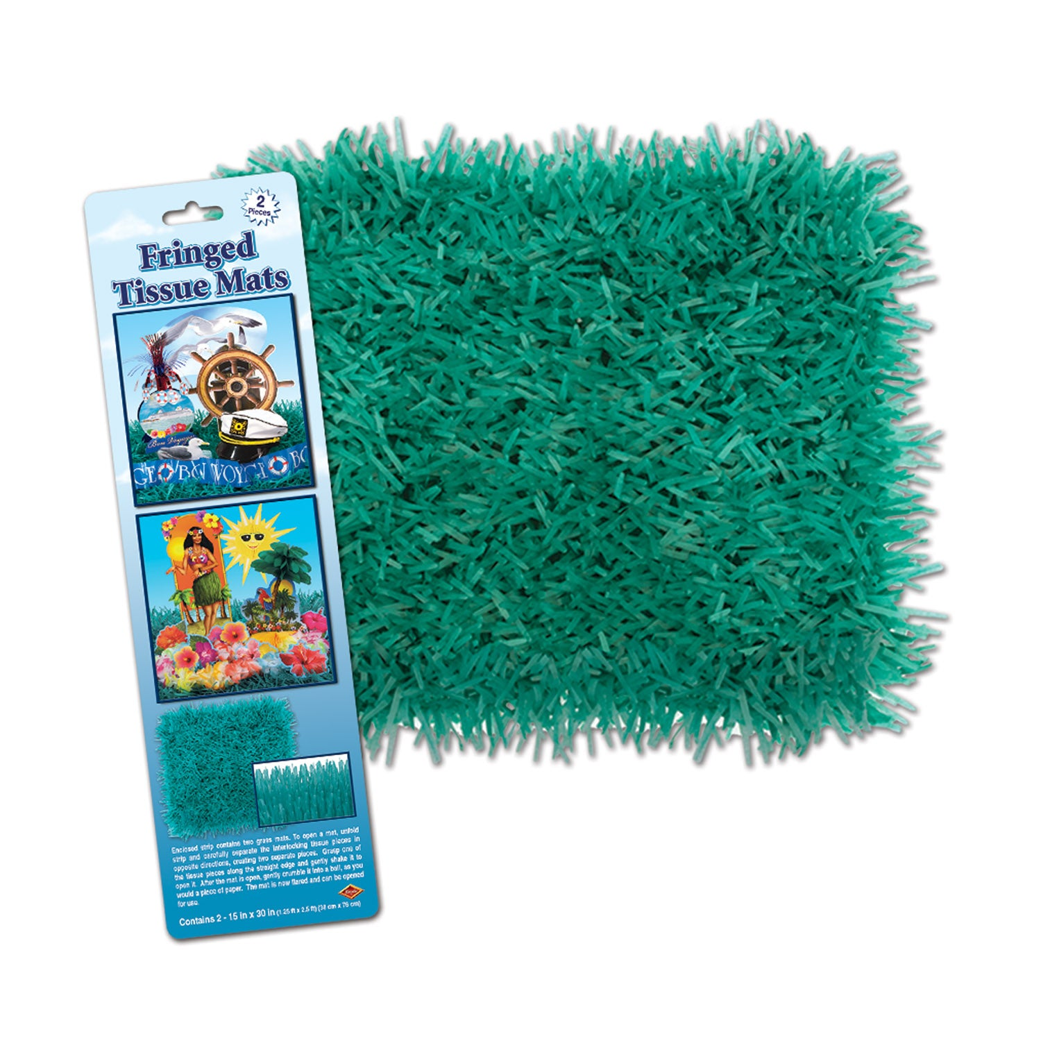 Packaged Fringed Tissue Mats (2/Pkg), teal by Beistle - Nautical Theme Decorations