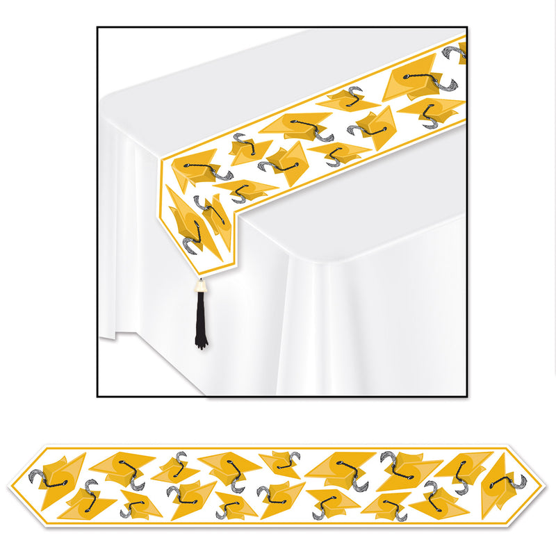 Printed Grad Cap Table Runner, gold by Beistle - Graduation Theme Decorations