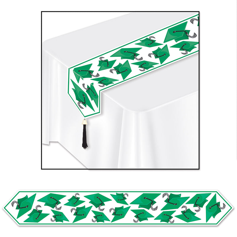 Printed Grad Cap Table Runner, green by Beistle - Graduation Theme Decorations
