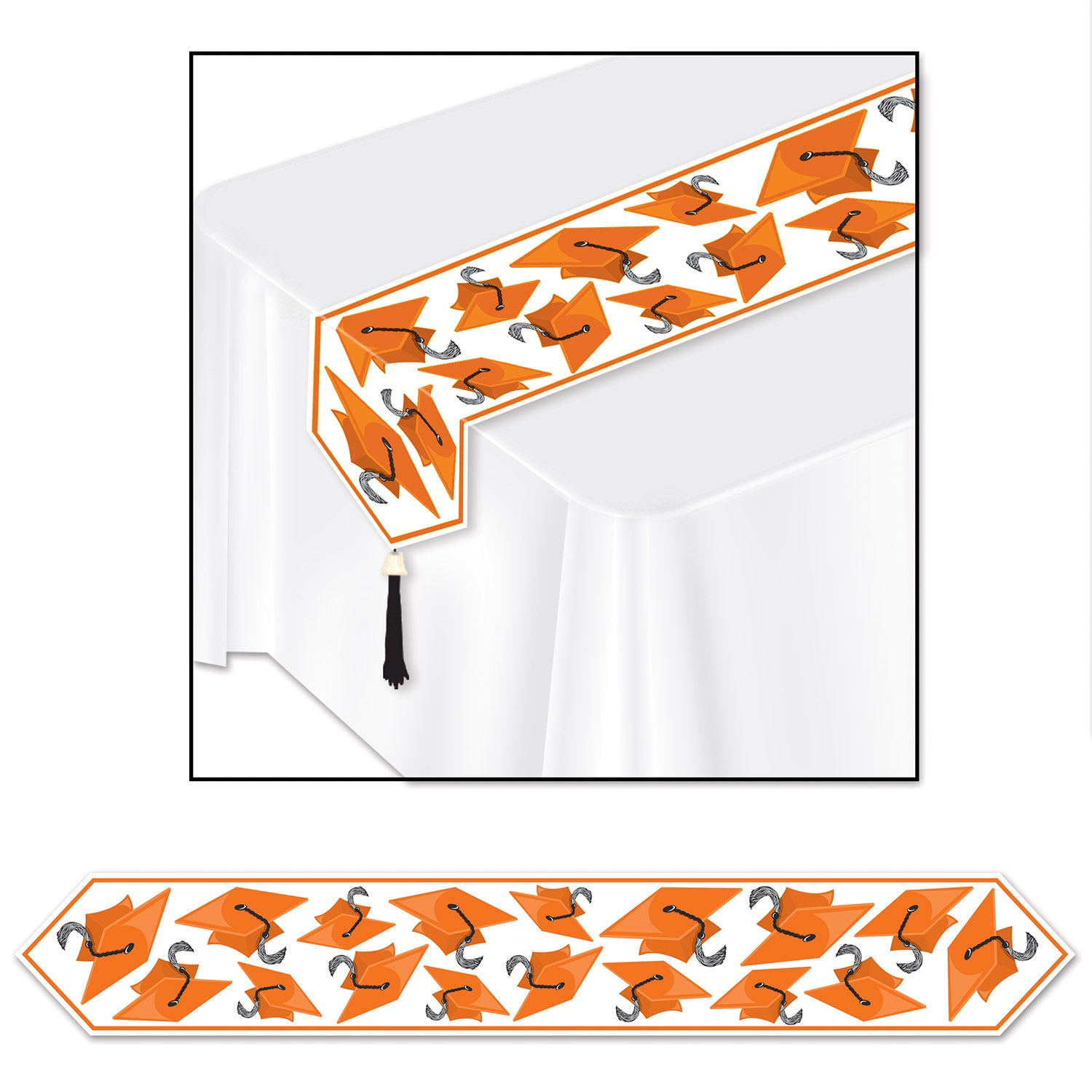 Printed Grad Cap Table Runner, orange by Beistle - Graduation Theme Decorations
